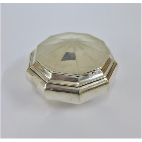 28 - Continental silver gilt decagon shaped snuff box, with hinged lid, unmarked,  8cm...