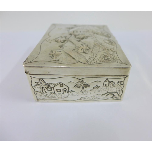29 - George III silver box of rectangular form the hinged lid with repousee landscape and cottage pattern...