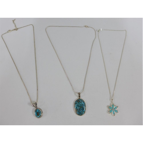 31 - Three various silver and turquoise necklaces (3)...