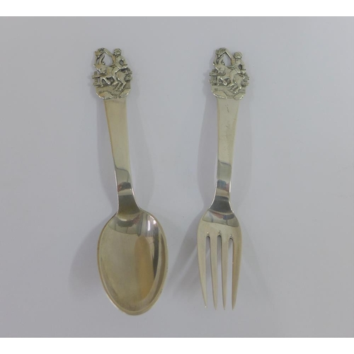 36 - Danish silver fork and spoon set, with figure and deer terminals, 14cm long, (2)...