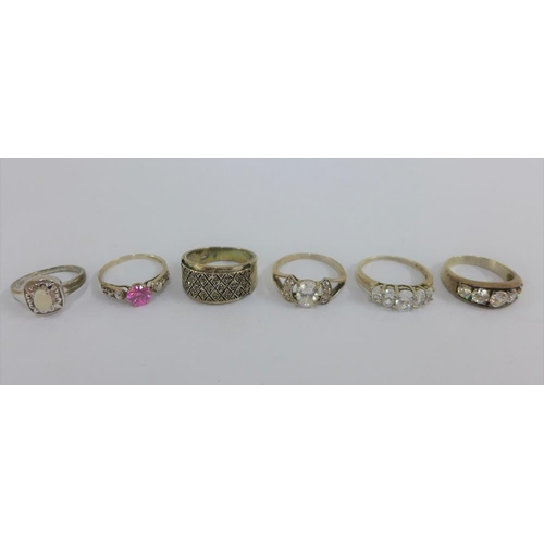 38 - Six silver gemset rings (6)...