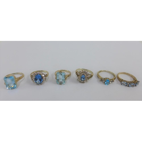 39 - Six silver gemset rings (6)...