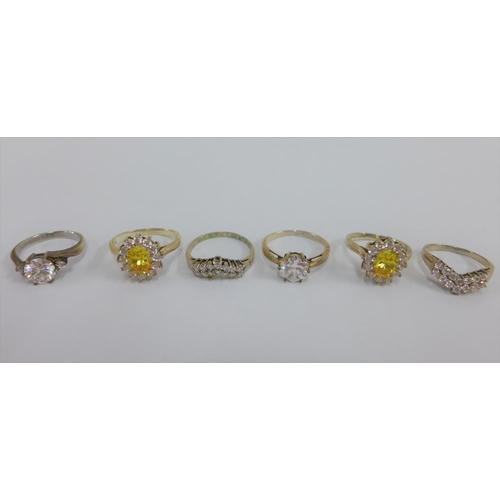 40 - Six silver gemset rings (6)...