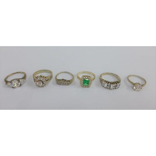 42 - Six silver gemset rings (6)...