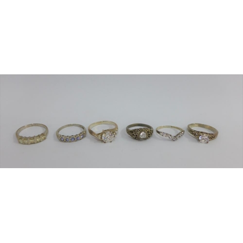 44 - Six silver gemset rings (6)...