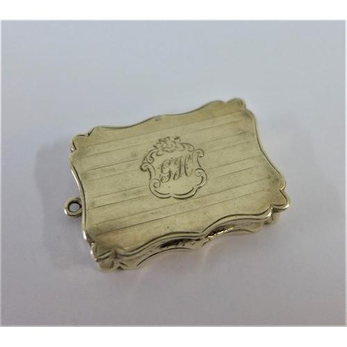 6 - Victorian silver gilt vinaigrette, Nathaniel Mills, Birmingham 1852, 4cm (a/f grill lacking)...