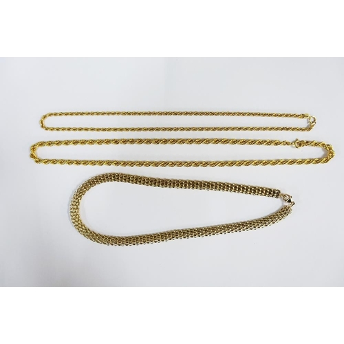 1 - Three 9ct gold necklaces to include a gate link chain and two rope twist chains, (3)...