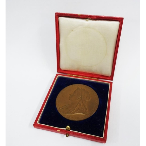 10 - Queen Victoria 1837 - 1897, cased bronze medallion to commemorate her sixty years of reign...