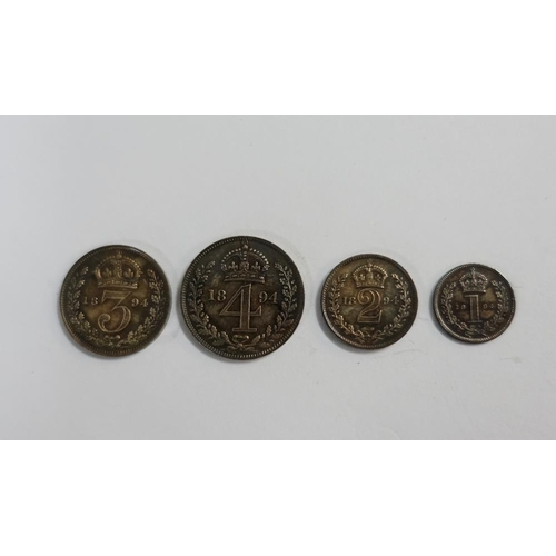 11 - Victorian Maundy Money set, 1894, four coin set with original box