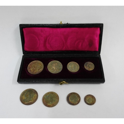 12 - Victorian Maundy Money set, 1898, four coin set with original box and four coins for 1899 which are ...