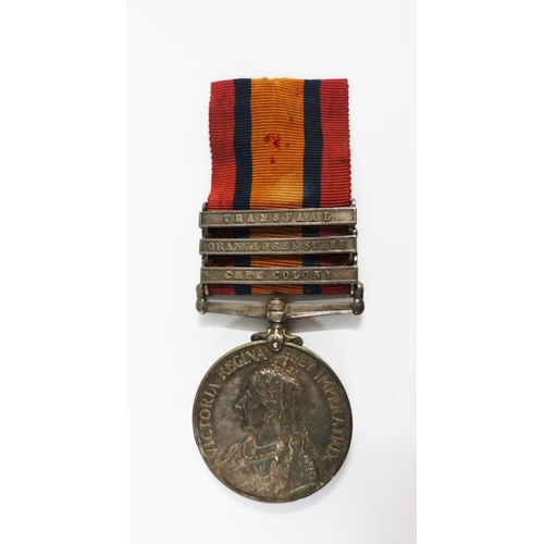 13 - Queens South Africa Medal with three bars to include Transvaal, Orange Free State and Cape Colony, a...