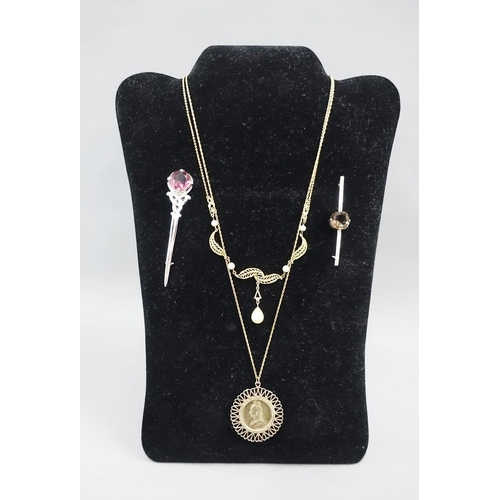 15 - Mixed lot to include a Queen Victoria 1887 shilling coin pendant on a yellow metal chain, gilt metal...
