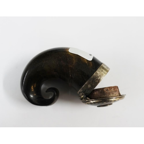 18 - Scottish curly horn snuff mull with hinged lid and white metal mounts...