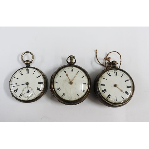 19 - Two 19th century silver pair cased pocket watches and another (3)...