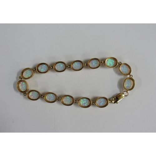 2 - 9ct gold and opal bracelet, stamped 375...