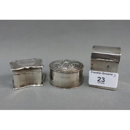 23 - Three small silver boxes to include a circular box. London 1900, Art Nouveau box, Birmingham 1902 an...