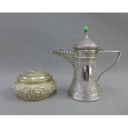 27 - Persian white metal coffee pot, with domed lid, angular handle and chased finely with flowers and fo...