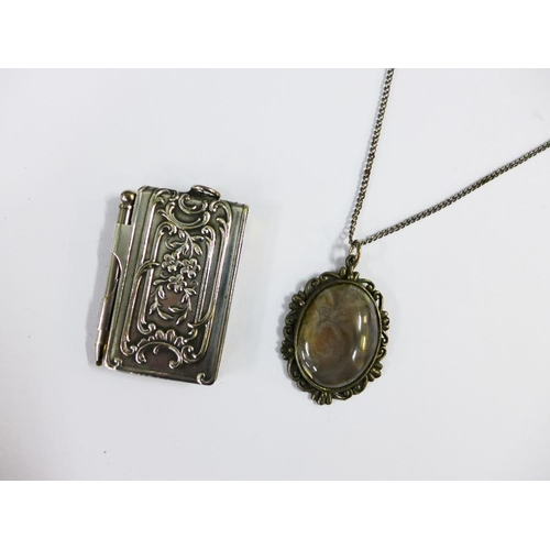 29 - White metal aide memoire with thistles pattern, 5cm,  together with a hardstone pendant on chain (2)...