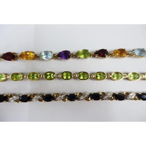 3 - Three 9ct gold gemset bracelets, (3)