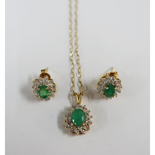 4 - 9ct gold emerald and diamond earrings and pendant necklace (3)...