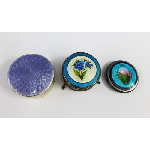 45 - Silver and enamel flower patterned circular box, Birmingham 1911, early 20th century silver and lila...