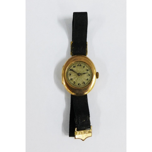 47 - 1920's lady's 9ct gold cased wristwatch, case fully hallmarked and stamped ROLWATCO and numbered 186...