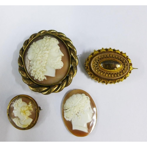 48 - Gilt metal long chain, four cameo brooches, late Victorian seed pearl brooch and another of quatrefo...