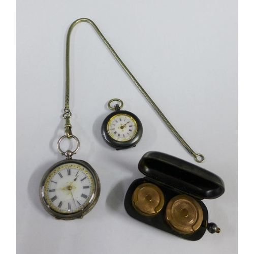 50 - Continental white metal cased fob watch and another smaller and a white metal coin case (3)...