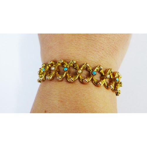 52 - An Edwardian 9ct rose gold bracelet set with turquoise and seed pearls, of expanding design...