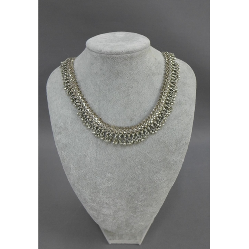 53 - Indian heavy white metal necklace and bracelet (2)...
