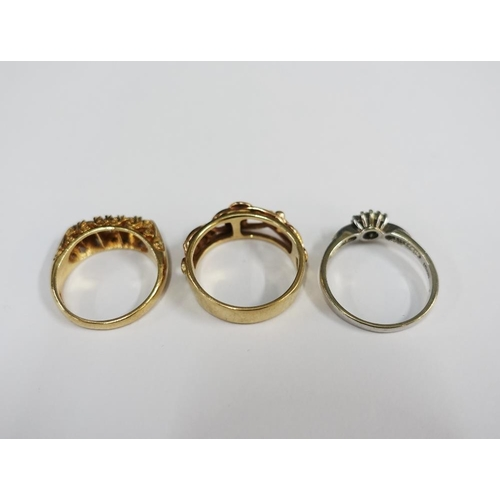 6 - A collection of six 9ct gold rings and another unmarked yellow metal ring (7)...
