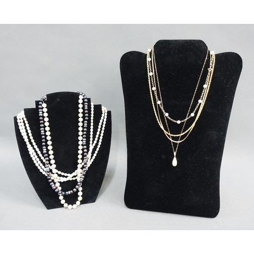 7 - Two 9ct gold chains, 9ct gold chain with pearls, a strand of cultured pearls with a 9ct gold clasp, ...