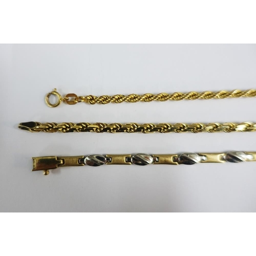 8 - Three 9ct gold bracelets to include two rope twist and one bi-colour bracelet (3)...