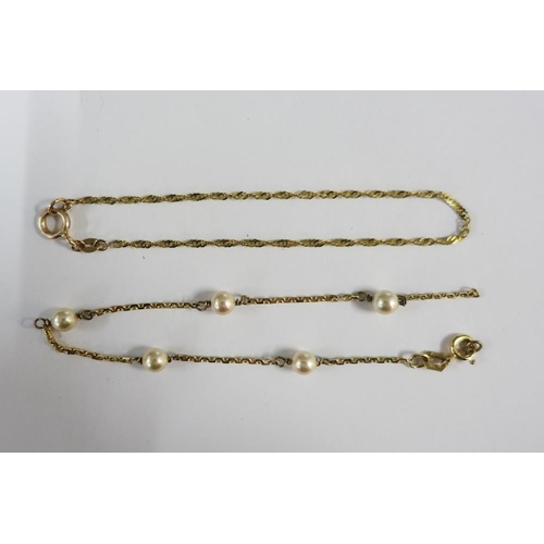 9 - 9ct gold chain bracelet and another (2) (one a/f)...