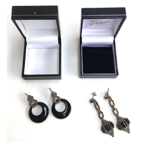 27 - Two pairs of silver, jet and marcasite earrings...