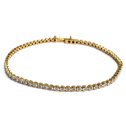 20 - An 18ct gold bracelet with 70 round set diamonds (approx 1ct), length 19cm, gross weight 7g...