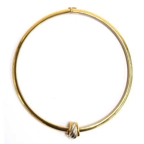 22 - A gold collar necklace in a panel link marked Italy 14ct, gross weight 38g...