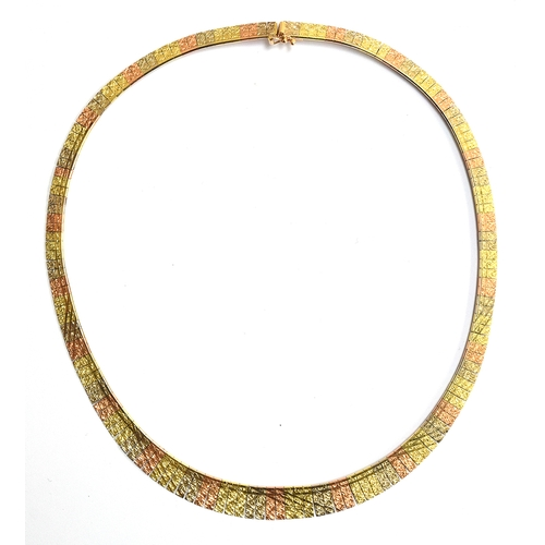 24 - A 14ct gold necklace with yellow, white and rose gold links, approx 43cm long and 22g weight...
