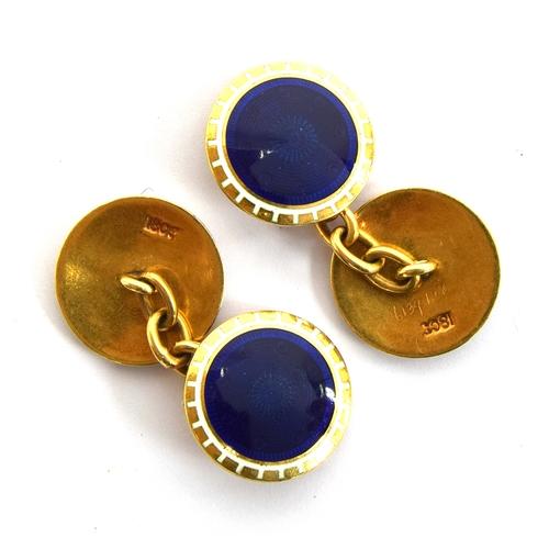 32 - Pair of 18ct blue enamel cuff-links...