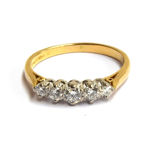 3 - An 18ct ring with 5 old cut diamonds , gross weight 3.7, size S...