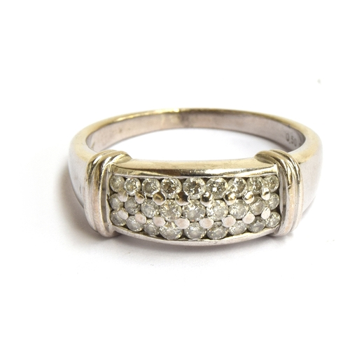 4 - An 18ct white gold ring pave set diamond ring, size R.5, gross weight 6.5g...
