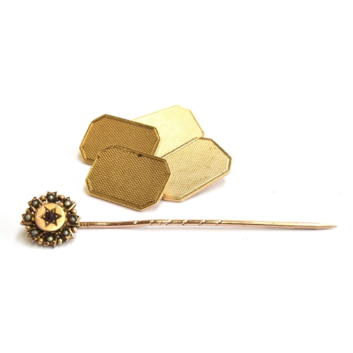 33 - 9ct gold pair of cufflinks, Birmingham 1960, maker C&F, 7.2g together with 9ct gold stick pin very d...