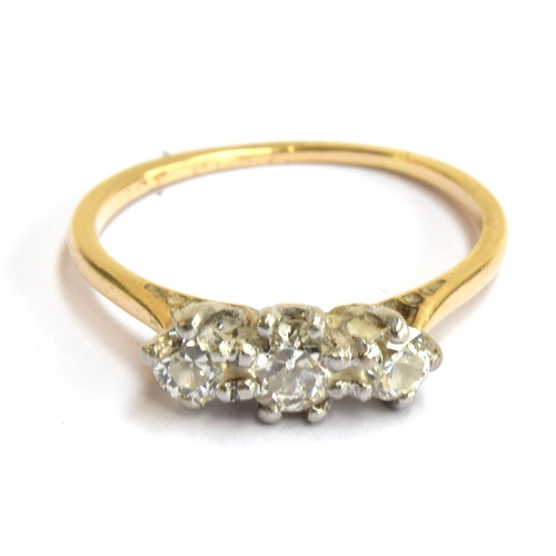 10 - An 18ct gold ring set with 3 old cut diamonds (approx 1ct) size M.5....