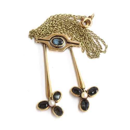 34 - Art Nouveau style sapphire and pearl seed pendant (gold hallmark rubbed)...