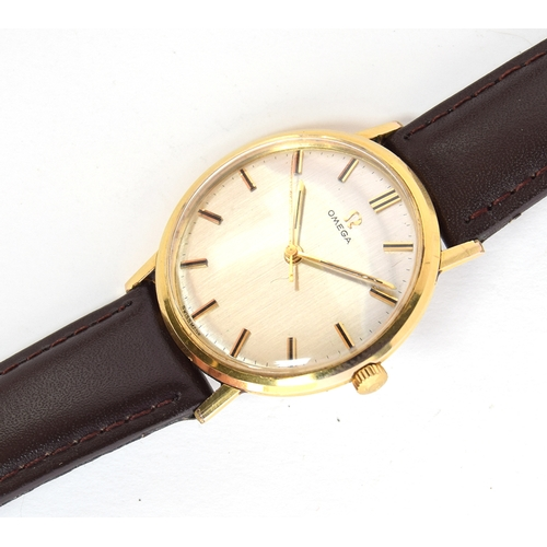46 - A GENTLEMAN'S STEEL AND GOLD FILLED OMEGA WRIST WATCH CIRCA 1963/64, REF 131015, SILVERED DIAL, BATO...