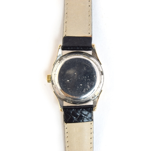 52 - A GENTLEMAN'S GOLD FILLED OMEGA WRIST WATCH DATED 1947, REF 2582-6, SILVERED DIAL, ARROW HEAD MARKER...