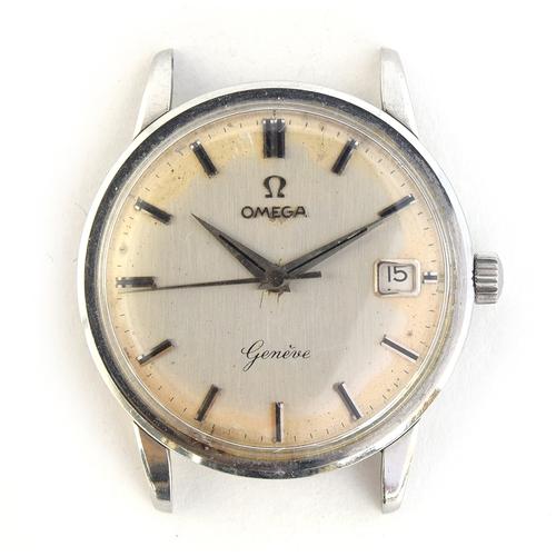 53 - A GENTLEMAN'S STEEL OMEGA GENEVE WRIST WATCH *DATE FAULT* DATED 1959, REF 14724SC/61, SILVER DIAL, B...