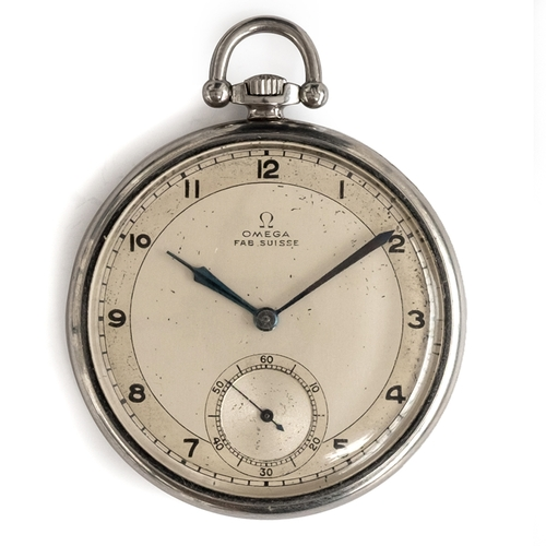 56 - A STAYBRIGHT STEEL OMEGA POCKET WATCH DATED 1934.   Movement: 15J, manual wind, cal 575L-15. Case: D...