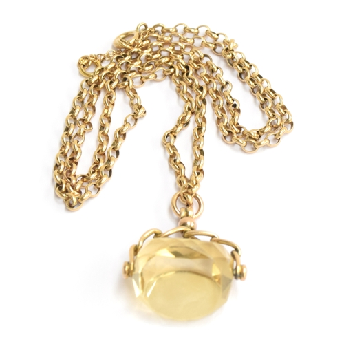 30 - A 9ct gold chain, approximately 12g, with large pale yellow stone...