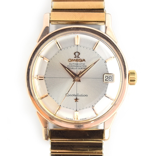 47 - A FINE GENTLEMAN'S ROSE GOLD CAPPED OMEGA CONSTELLATION CHRONOMETER WRIST WATCH DATED 1962, REF 1490...